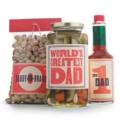 Retro Father's Day Clip-Art Labels  He'll go nuts for personalized pistachios -- or pickles or hot sauce. In fact, these retro labels make it a cinch to turn any of Dad's favorite foods into a custom gift for Father's Day.