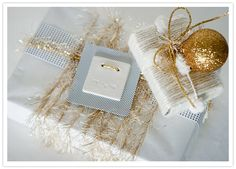 Wedding Gift Wrapping Ideas | Glamorous holiday decor and gift wrap | Bits + Pieces | 100 Layer Cake
