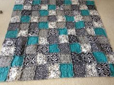 Rag Quilt  Turquoise Dreams  Ready to Ship by charmingprints