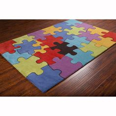 Artist's Loom Hand-tufted Contemporary Colorful Jigsaw Puzzle Wool Rug (8'x10') ((8'x10')), Red, Size 8' x 10'