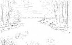 lake draw step drawnbyhislight easy scene drawn drawing water drawings