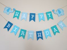 Blue Ombre Elephant Birthday Banner - Personalized - Party Decor by MyMixedMediaCrafts on Etsy