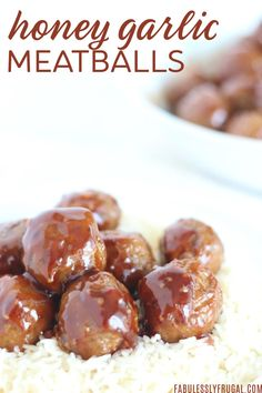 Slow Cooker Honey Garlic Meatballs Recipe - 6 Weight Watchers Points Recipes - Fabulessly Frugal recipe honey garlic Slow Cooker or Instant Pot Honey Garlic Meatballs Recipe - 6 Weight Watchers Points Recipes - Fabulessly Frugal Sweet And Sour Meatballs, Tasty Meatballs, Crock Pot Meatballs, Garlic Meatball Recipe, Meatball Recipes, Spicy Honey, Honey Bbq, Gourmet Recipes, Snack Recipes