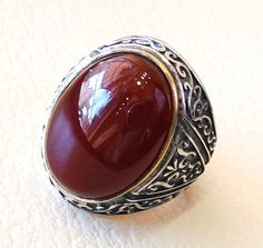 liver agate aqeeq man ring sterling silver 925 by AbuMariamJewels