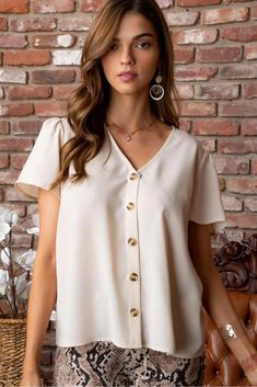 V neck short sleeve button down solid top. Shirt Dress, Blouse, Button Downs, Tunic Tops, Buttons, V Neck, Geneva, Stylish, Sleeves