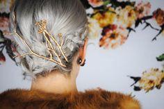 gold twigs hair pins