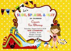 Minnie Waterslide Birthday Invitation-Digital File by graciegirldesigns77 on Etsy