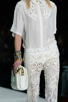 Roberto Cavalli 2013, love the intricate detailing in this garment, especially in a fresh white!!
