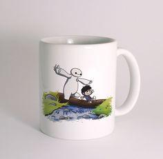baymax and hiro as calvin and hobbes mug cup  mug white 11 oz two sides ceramic