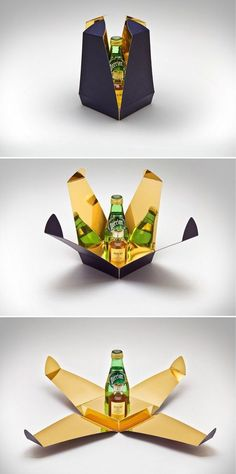Creative and Brilliant Packaging Design ideas from around the world brilliant packaging design, love the gold, reminds me of the alien movie.brilliant packaging design, love the gold, reminds me of the alien movie. Clever Packaging, Food Packaging Design, Luxury Packaging, Bottle Packaging, Packaging Design Inspiration, Brand Packaging, Packaging Nets, Innovative Packaging, Custom Packaging