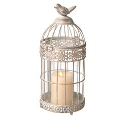 Small White and Gold Birdcage Pillar Holder