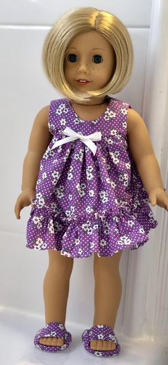 Purple Ruffled Shortie Pajamas for 18 inch dolls like American