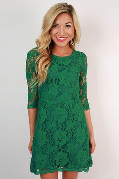 Stitch fix stylist, I love lacy designs on dresses, love the length cut, 3/4 sleeves and below knee. Paris Delight Open Back Lace Dress in Dark Emerald
