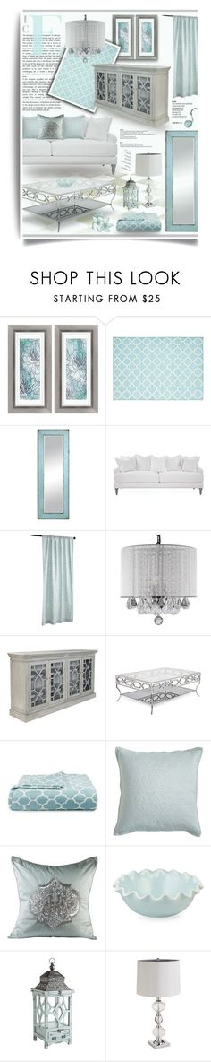 """Ice Blue & Silver Living Room Decor"" by hmb213 ❤ liked on Polyvore featuring interior, interiors, interior design, home, home decor, interior decorating, Universal Lighting and Decor, Pier 1 Imports, Gallery and OKA"