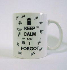 """Keep Calm and I Forgot"" The Silence white ceramic mug by LaurasLovelyKnit"