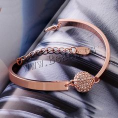 comeon® Jewelry Bracelet, Zinc Alloy, with 2lnch extender chain, Round, real rose gold plated, with rhinestone, nickel, lead & cadmium free, 15x13mm,china wholesale jewelry beads