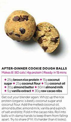 After-dinner cookie dough balls Healthy Bars, Healthy Deserts, Healthy Snacks, Coconut Sugar, Coconut Flour, Raw Cacao Nibs, Dough Balls, Raw Desserts, School Snacks