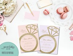 She Said Yes Bridal Shower Invite, Bridal Shower Invitation, Glitter Bridal Shower Invite, Glitter Invitation, Gold {PRINTED OR PRINTABLE} by GreatLakesCreative on Etsy