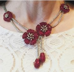 Ruby floral in invisible setting's and diamonds necklace