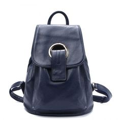 a33519d8cb Ladies Genuine Leather Backpack Fashion First Layer Leather Travel Bag  Leisure Interior Slot Pocket College Female Backpack
