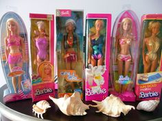 The Best Swimsuit Barbies EVER!! Barbie Mermaid Tale Sunsational Barbie Cali Girl Beach Party Sun Gold Tropical Barbie   herdirect