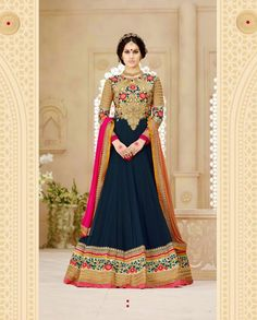 Dark blue floor length anarkali with heavy floral embroidered yoke   1. Dark blue poly georgette anarkali suit2. Comes with matching bottom and dupatta3. Can be stitched upto bust size 42 inches