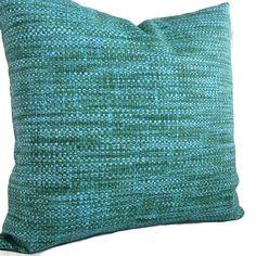 Blue Green Pillow Indoor Outdoor Throw Pillow by MarolizanaDesigns