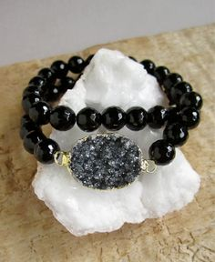 Druzy+Bracelet+Black+Druzy+Drusy+Quartz+Black+by+julianneblumlo,+$84.00
