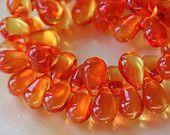 Golden Hyacinth Czech Glass Teardrop Beads Jewelry  Making Supplies Tear Drop Beads 6x9mm (60 pieces) hyacinth orange