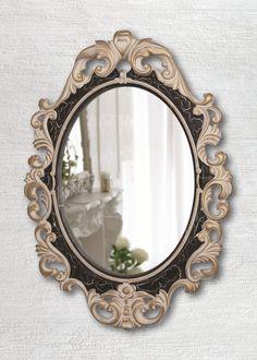 Овальное «Винтажное» зеркало Слоновая кость Венге Золото Кракелюр