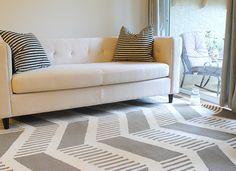 Fabulously Vintage: Beautiful West Elm Sofa & Chevron Rug
