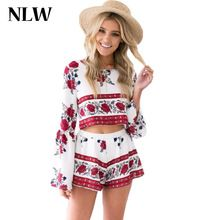 NLW Apparel Sexy Hollow Out Red Floral Print Women Playsuits Elegant O Neck Two Piece Rompers Jumpsuits Short Overalls Backless alishoppbrasil
