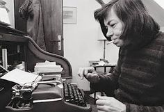 """Patricia Highsmith, author of such novels as """"The Talented Mr. Ripley"""" and """"Strangers on a Train,"""" hard at work at her Olympia typewriter. Ms Highsmith used a coffee colored Olympia de Luxe, and it's now on display at the Swiss Literary Archive. Virginia Woolf, Agatha Christie, O Talentoso Ripley, Bruno Ganz, Patricia Highsmith, John Cheever, Langston Hughes, Bernard Shaw, Writers Write"""