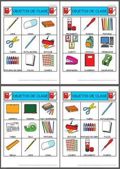 MATERIALES - Bingos de objetos de la clase.    Conjunto de dos bingos de objetos de la clase.    Uno de los bingos está compuesto por 2 cartones de 3x3 celdas, sin repetición de pictogramas.    Otro de los bingos está compuesto por 4 cartones de 3x3, en los que se repiten algunos pictogramas.     http://arasaac.org/materiales.php?id_material=784