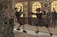 Constance and Egerton fencing by synthezoide on deviantART