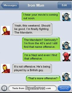 Post with 3705 votes and 41773 views. Texts from Superheroes Part 2 Funny Marvel Memes, Marvel Jokes, Marvel Vs, Marvel Dc Comics, Funny Comics, Avengers Texts, Superhero Texts, Avengers Superheroes, Comic Text
