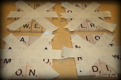 Pops and Podge: How to make Scrabble Tile Coasters - This seems to be the best method!  The finished product looks nice and neat, with no rough edges.