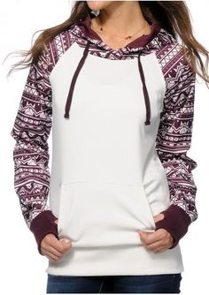 Geometric Thumbholes Hoodie Without Necklace