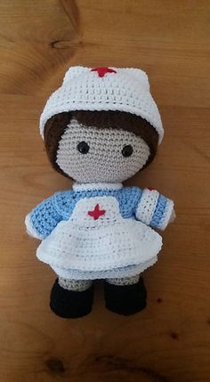 Crochet Dolls Clothes Ravelry: Weebee Doll - Nurse Outfit pattern by Laura Tegg - Here is Weebee dressed and ready to provide the best health care to those who need it. Crochet Dolls Free Patterns, Crochet Doll Pattern, Amigurumi Patterns, Knitted Nurse Doll, Knitted Dolls, Cute Crochet, Crochet Toys, Crochet Baby, Crochet Doll Clothes