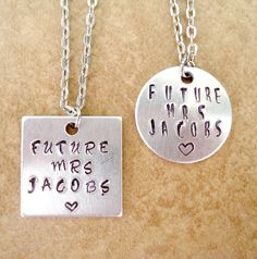 Future Mrs. Necklace - Bride's Hand Stamped Pendant and Necklace -Silver Link Chain - Engagement Gift - Bride Gift - Choose Style & Font by TJsTreasureChest on Etsy