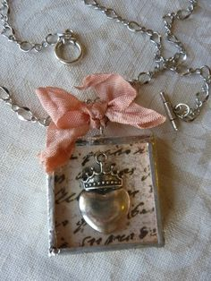 Soldered Charm Necklace Charmed Vintage CROWN & HEART by Margolinn, $42.00