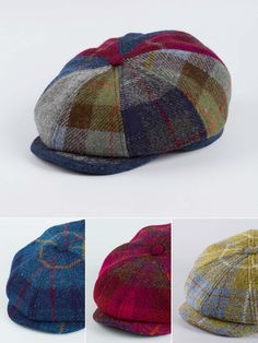 Harris Tweed Baker Boy- Traditionally Harris Tweed was woven in the muted tones of the Hebridean landscape. These harris tweed caps are inspired by a rather more psychedelic pallette and we think they are the tweed hat to be seen in this Autumn. Mens Casual Hats, Bat Box, Baker Boy Cap, Newsboy Cap, Flat Cap, Harris Tweed, Cool Hats, Mens Caps, Gentleman Style