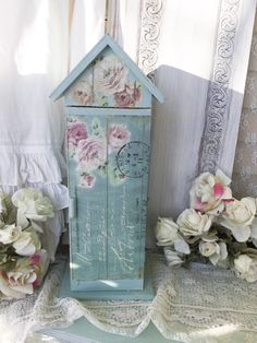 Shabby Chic Storage Cupboard, Chippy distressed painted cupboard,cabinet,shelf,Display case, House shaped storage cupboard