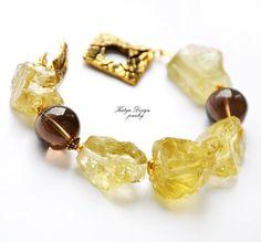 "Bracelet citrine yellow , smoky quartz ""Sunshine""  $72.00"