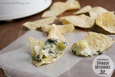 Slow Cooker Spinach Artichoke Dip | www.tasteandtellblog.com #recipe #appetizer #slowcooker