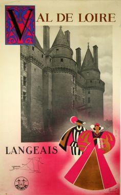 chemins de fer Paris-Orléans-Midi - Langeais, Val de Loire - 1930 - illustration…