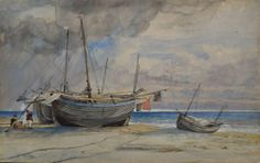 Fishing Boats Brighton Beach Antique Marine Painting James Holland (1799-1870)