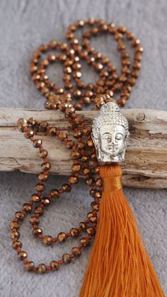 Handmade necklace with rust brown Buddha tassel and crystal cut beads sparkles with movement. Made in Indonesia. Tassel Necklace, Jewelry Necklaces, Beaded Bracelets, Diy Necklace Making, Homemade Necklaces, Buddha Jewelry, Mala Meditation, Metal Beads, Silver Color