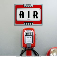 Eco Air Pump Gas Station Art Deco Metal Sign