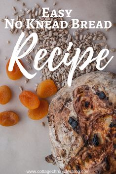 Easy Artisan Bread Recipe that anyone can make! Filled with apricot and sunflower kernels, or the fruit and nuts of your choice. Artisan Bread Recipes, Easy Bread Recipes, Apricot Bread Recipe, No Bake Desserts, Easy Desserts, Sunflower Kernels, Recipe Cover, Cream Cheese Spreads, No Knead Bread
